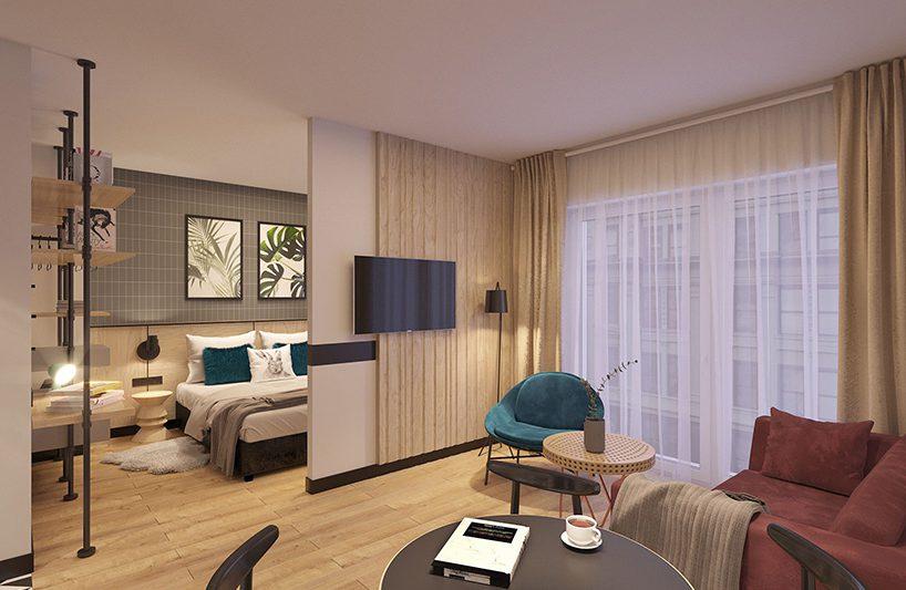 pokój hotelowy wjasnym brązie złóżkiem wtle