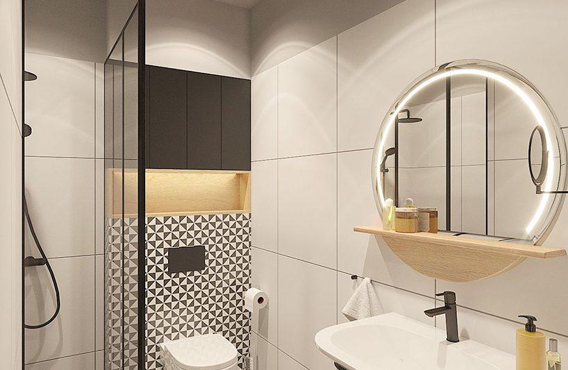 jasna łazienka whotelu zprysznicem