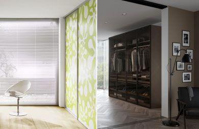 zestawienie aranżacji łazienki z salonem i garderobą