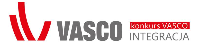 duży czerwono szary konkursu VASCO Integracja 2020 na białym tle