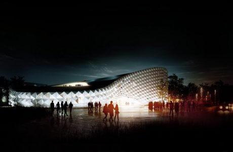 projekt nowoczesnej hali z podświetlaną fasadą