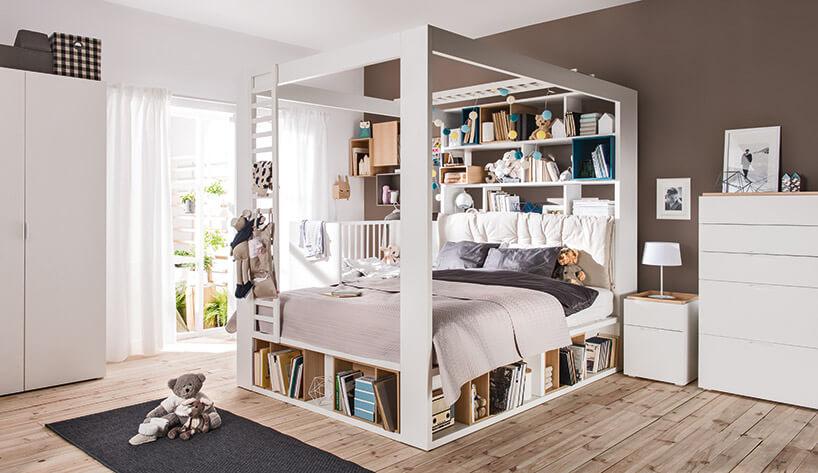 łóżko zzabudową wpokoju dziecka