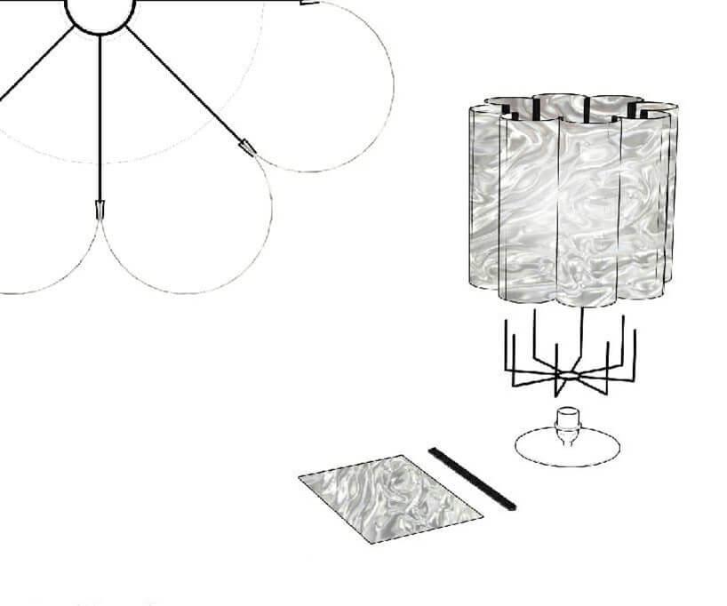 szkic lampy znietypowym kloszem