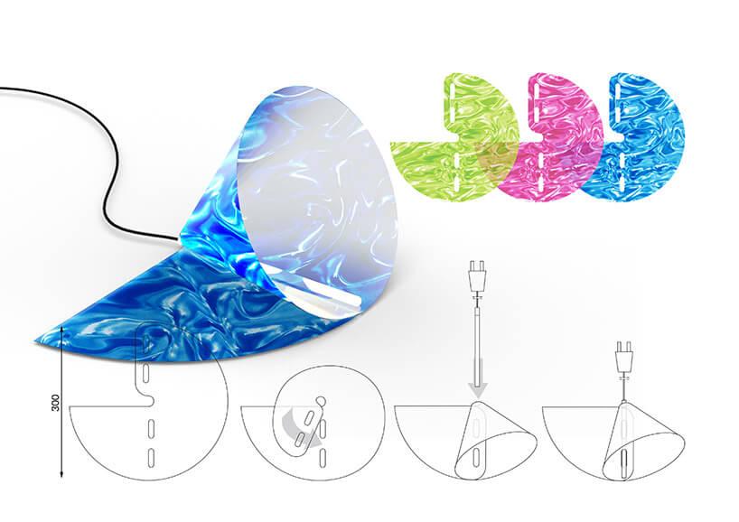 projekt lampy zróżnymi wersjami klosza