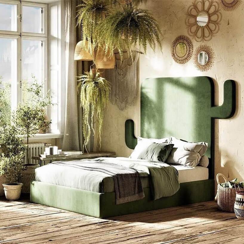 sypialnia zzagłówkiem wkształcie zielonego kaktusa