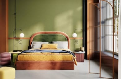 zielona oliwkowa ściana z pomarańczowym łóżkiem sypialnianym i półokrągłym zagłówkiem