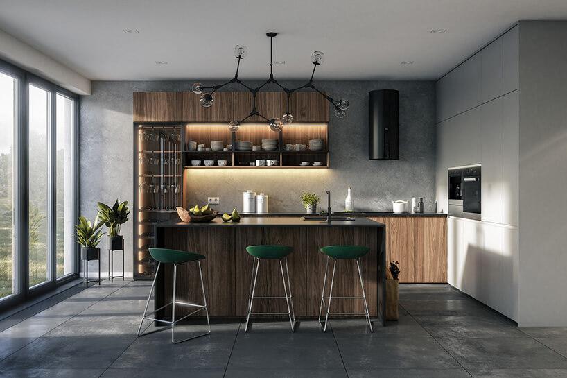 nowoczesna kuchnia zpołączeniem drewna iszarości oraz zielonych hokerów