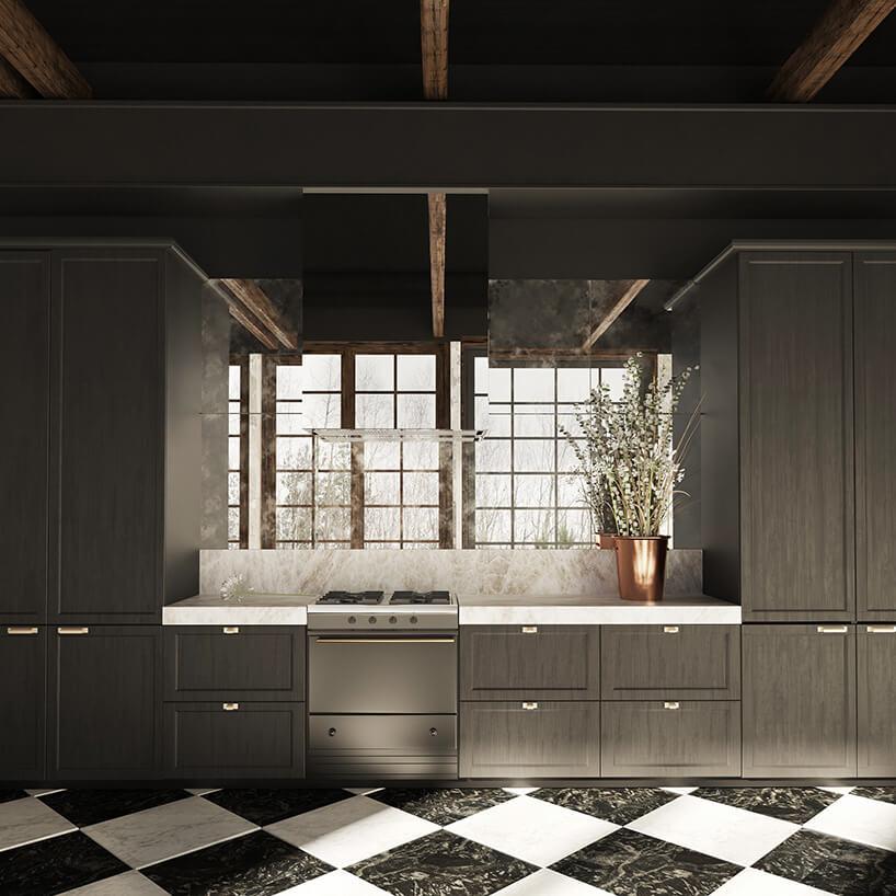 ciemno szara ściana kuchenna zkafelkami wkratę czarno białą wkaro