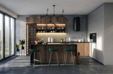 nowoczesna kuchnia z połączeniem drewna i szarości oraz zielonych hokerów