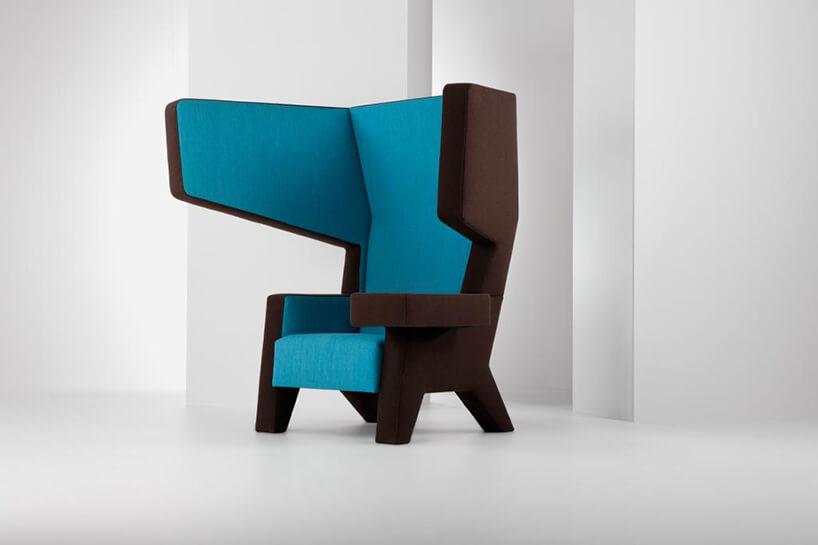 niebiesko brązowy nowoczesny fotel