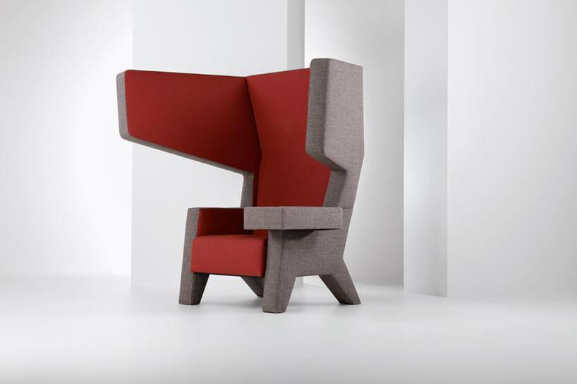 czerwono szary nowoczesny fotel