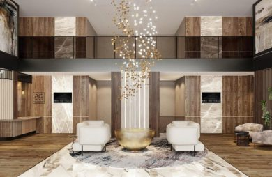 lobby w hotelu marriot projekt tremend