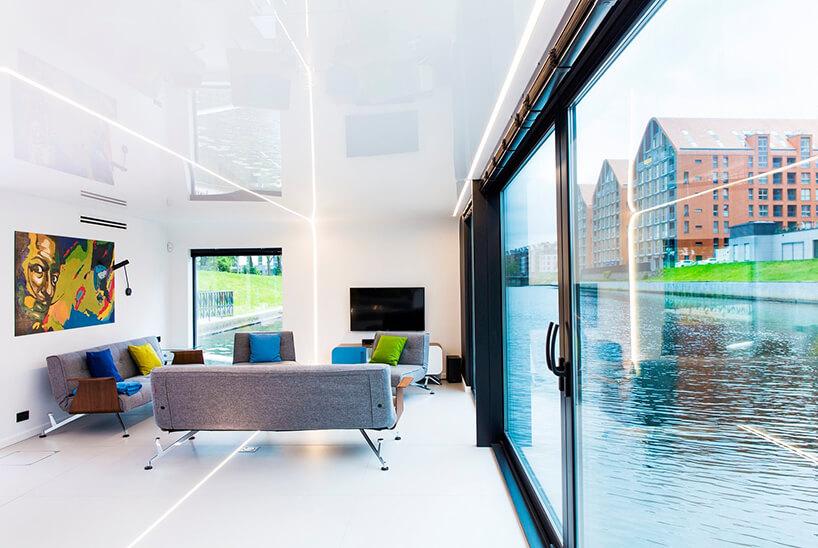 wnętrze pływającego apartamentu Flohotel wGdańsku