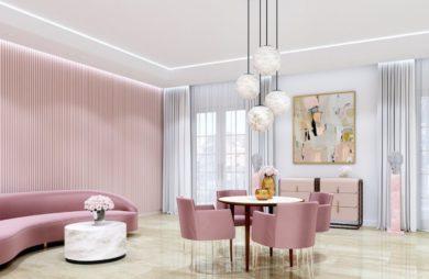 salon z elementami różu i różowymi meblami oraz alabastrem