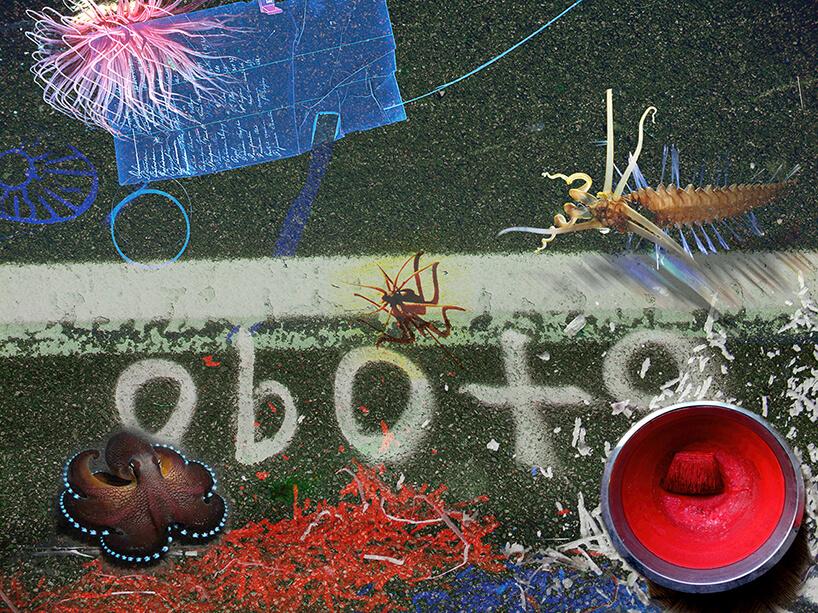 praca Andrzeja Dudzińskiego rózne stworzenia morskie na tle ulicy