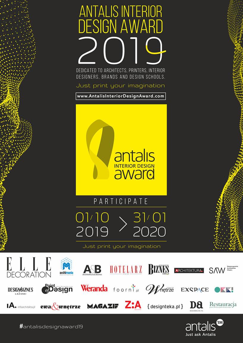 czarno żółty plakat konkursu Antalis Interior Design Award