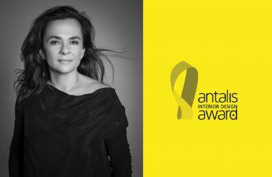 czarno białe zdjęcie Magdaleny Federowicz-Boule obok logotypu Antalis Interior Design Award