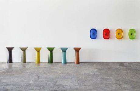 wielokolorowe szklane umywalki od Antonio Lupi