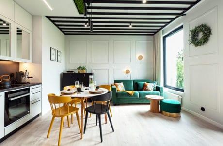 Apartament Botanica – przyjazna przestrzeń z wyjątkowymi sufitami