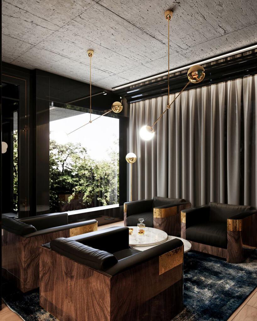 drewniano-skórzane fotele wsalonie znowoczesnym oświetleniem