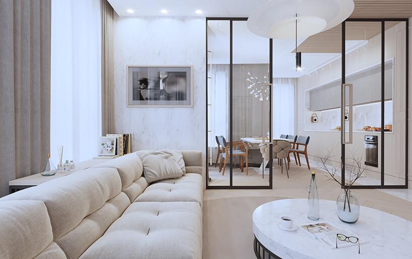nowoczesny apartament od Sikora Wnętrza długa bezowa sofa wsalonie