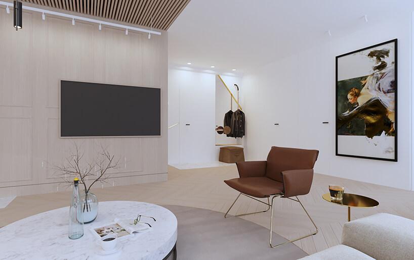 nowoczesny apartament od Sikora Wnętrza biały przedpokój zdużym obrazem