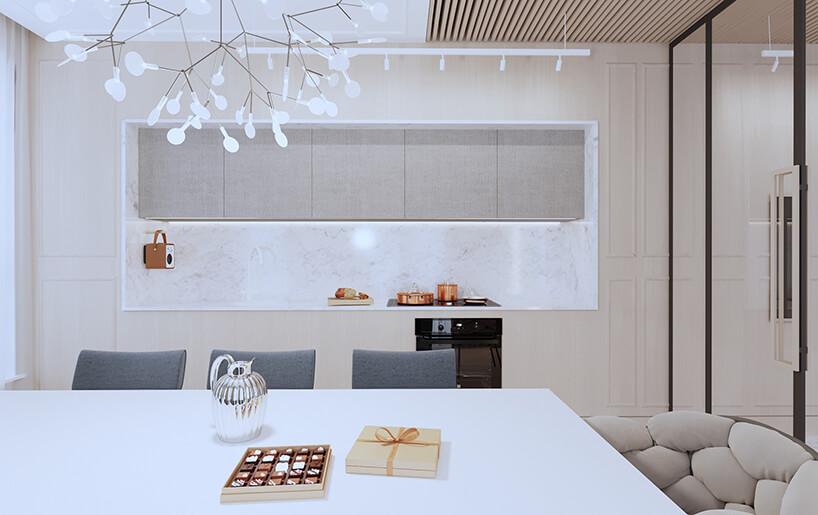 nowoczesny apartament od Sikora Wnętrza kuchnia wkomponowana wbeżową ścianę