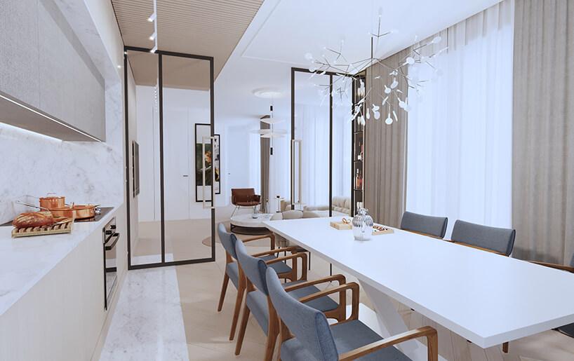 nowoczesny apartament od Sikora Wnętrza jadalnia zbiałym stołem idrewnianym krzesłami zniebieskim obiciem