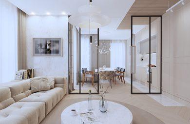 nowoczesny apartament od Sikora Wnętrza niski kamienny stolik w beżowo białym salonie