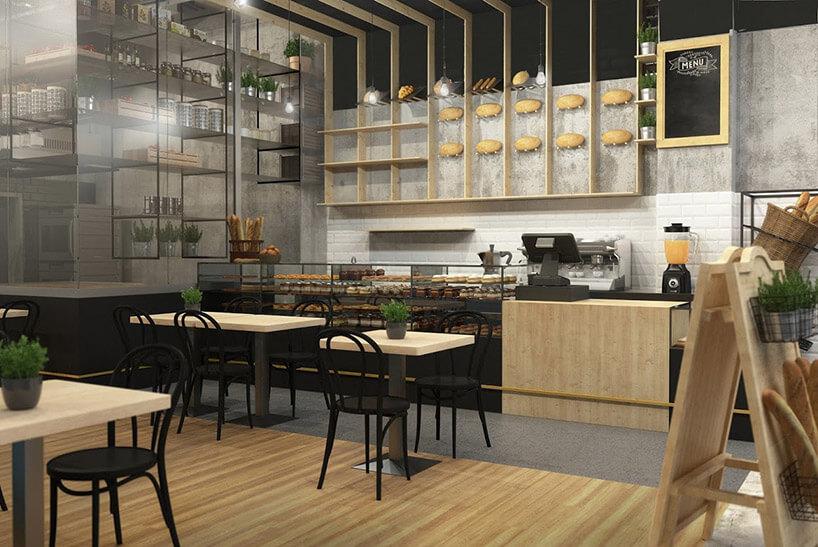 wizualizacja restauracji zkremowo-czarnym wnętrzem