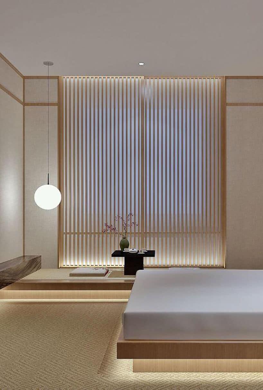 japońska minimalistyczna sypialnia