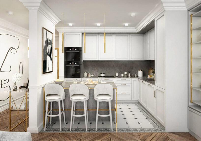 nowoczesna kuchnia wstarym stylu zjasnymi frontami oraz dwu kolorową podłogą