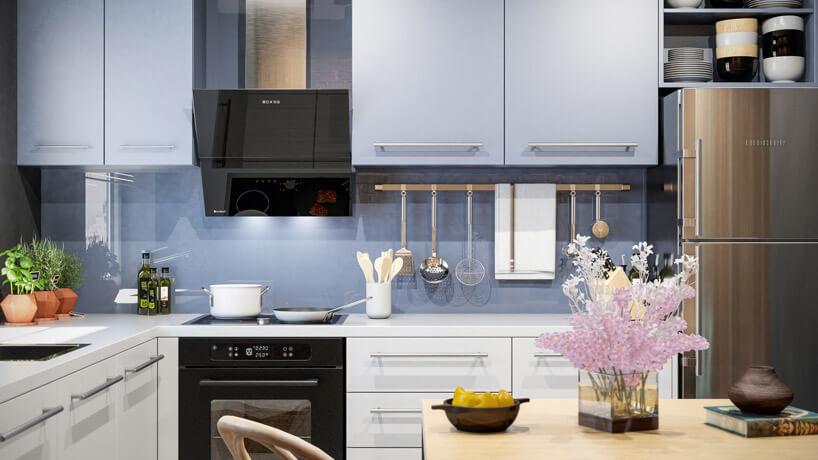 nowoczesna kuchnia zniebieską ściana idrewnianym blatem