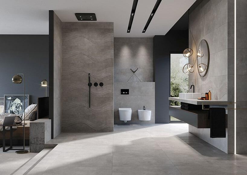 sypialnia połączona zotwartą łazienką zszarymi kaflami