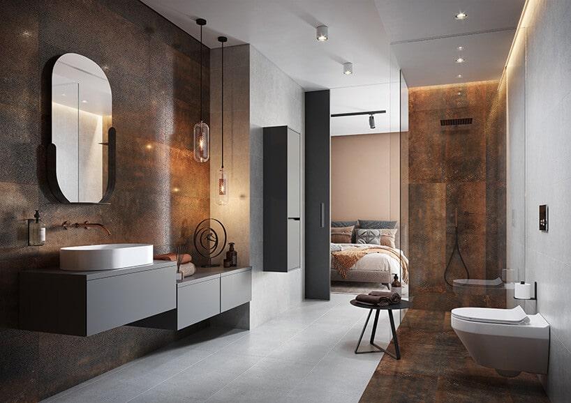 łazienka wykonana zmetalowych paneli rdzawych na ścianach