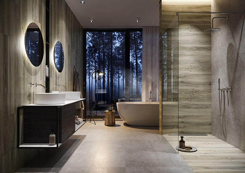 panele drewniane wformie kafli wsalonie kąpielowym