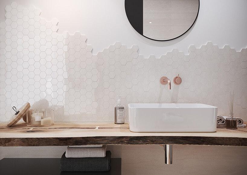 blat łazienkowy zkwadratową umywalką oraz kafelkami wmałe sześciokąty