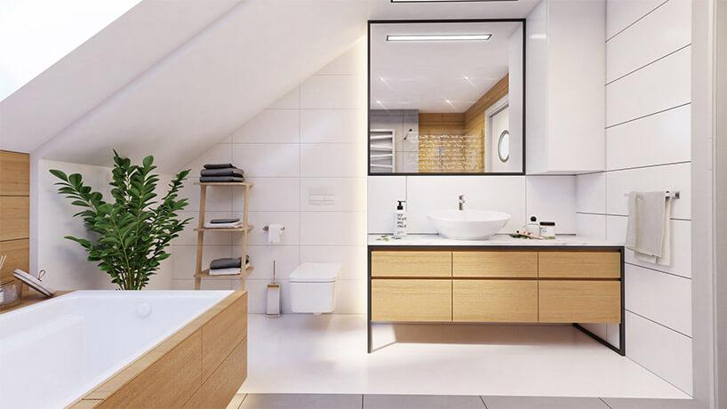 przestronna jasna łazienka na poddaszu zdrewnianymi akcentami
