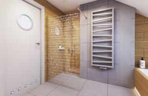 żółte płytki pod prysznicem obok szarych ścian i grzejnika
