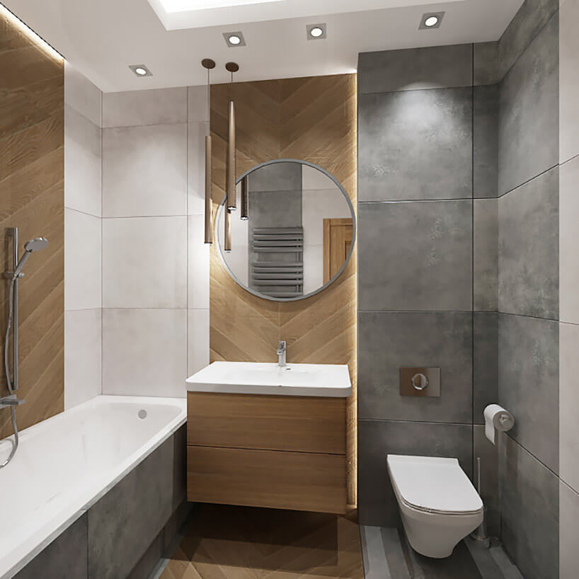szaro-drewniana mała łazienka