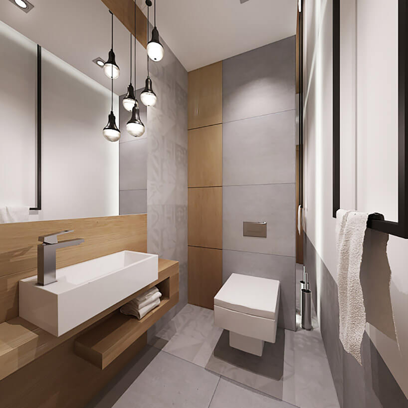 nowoczesna szara łazienka wpołączeniu zdrewnem