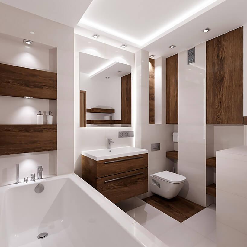 połączenie bieli idrewna wmałej łazience