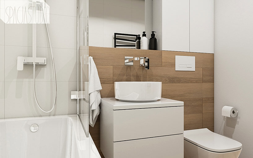 jasne drewno wmałej białej łazience