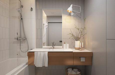 duża umywalka w brązowej szafce