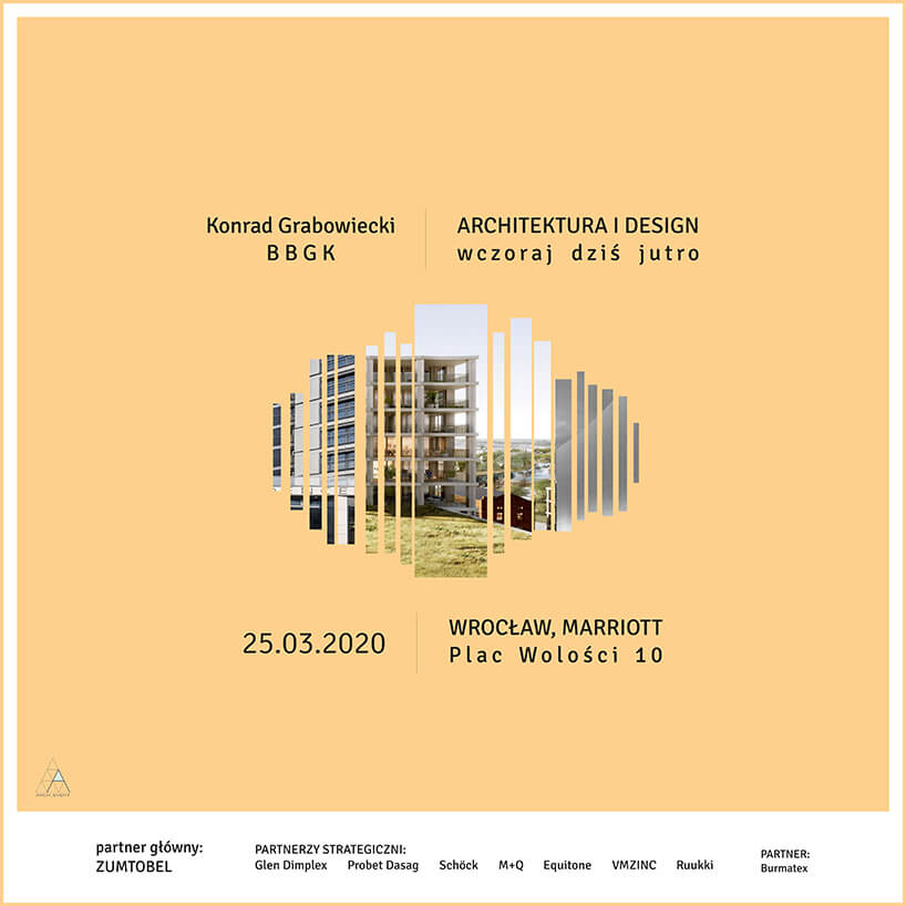 plakat spotkania we Wrocławiu ARCHITEKTURA DESIGNU wczoraj dziś jutro wramach ARCH_event 2020