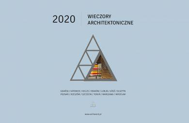 niebieski plakat promocyjny cyklu spotkań ARCH_event 2020