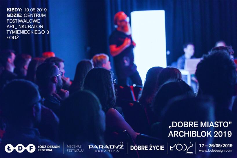 ciemnoniebieski plakat ARCHIBLOK 2019 wramach Łódź Design Festival 2019