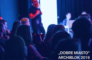ciemnoniebieski plakat ARCHIBLOK 2019 w ramach Łódź Design Festival 2019