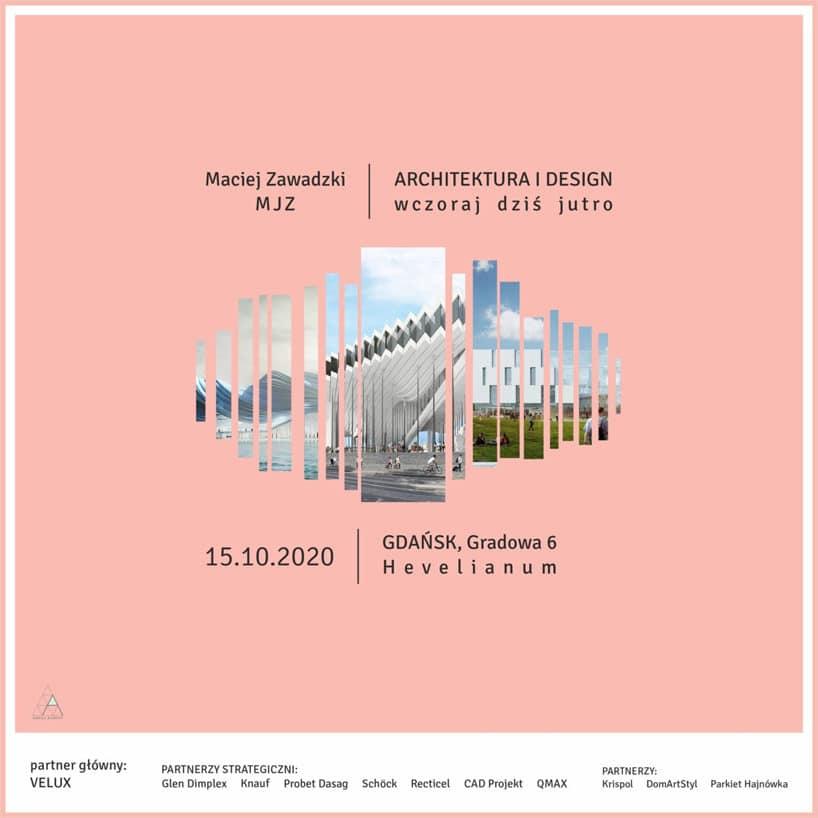brzoskwiniowy plakat spotkania ARCHITEKTURA IDESIGN. Wczoraj, dziś ijutro / Gdańsk 2020
