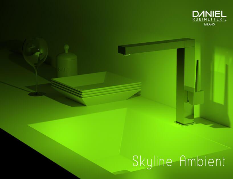 podświetlana umywalka wkolorze zielonym